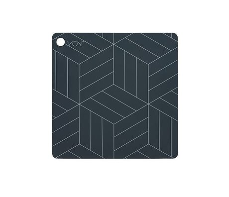 OYOY Placemat Mado donkergrijs silicone 38x38x0,15cm