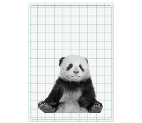 pt, Tea bag panda black white cotton 50x70cm