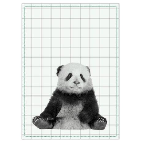 pt, Theedoek panda zwart wit katoen 50x70cm