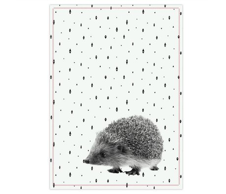 pt, Tea towel hedgehog black white cotton 50x70cm