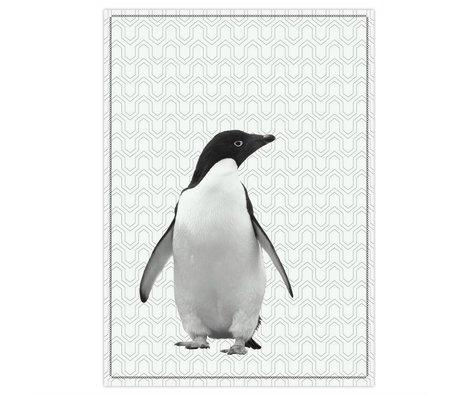 pt, Theedoek pinguin zwart wit katoen 50x70cm