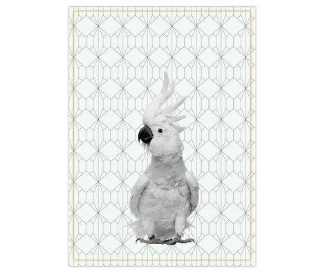 pt, Dishcloth schwarze Kakadus weiße Baumwolle 50x70cm