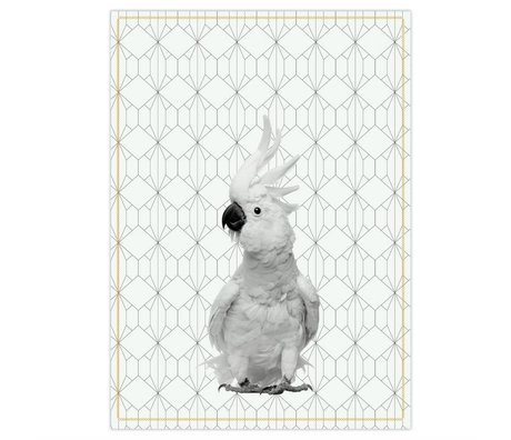 pt, Tea towel kaketoe black and white cotton 50x70cm