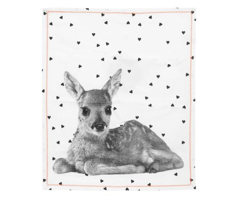 pt, Tea towel deer white cotton 50x70cm