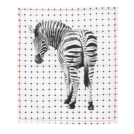 pt, Theedoek zebra zwart wit katoen 50x70cm