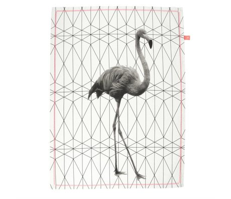 pt, Tea towel flamingo black and white cotton 50x70cm