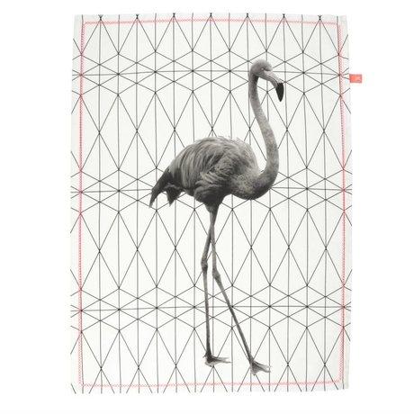 pt, Theedoek flamingo zwart wit katoen 50x70cm
