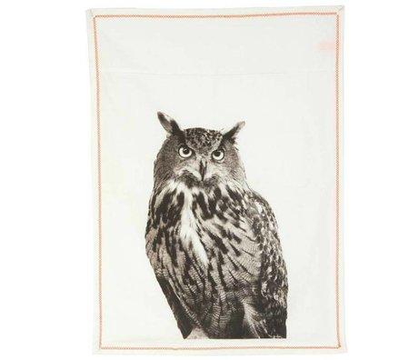 pt, Dishcloth Eule weiße Baumwolle 50x70cm