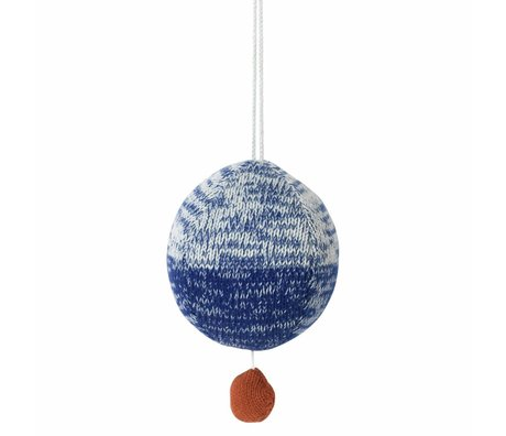 Ferm Living Mobile with music knitted cotton ball blue Ø10cm