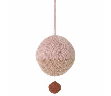Ferm Living La musique mobile coton tricoté balle rose Ø10cm