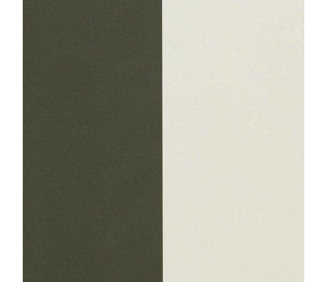 Ferm Living papier peint vert épais blanc crémeux Lignes 53x1000cm