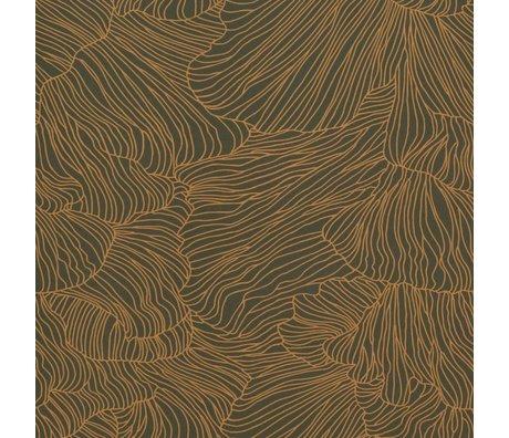 Ferm Living Tapete Koralle dunkelgrün Gold 53x1000cm