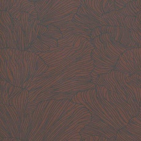Ferm Living Papier peint corail bordeaux rouge bleu foncé 53x1000cm