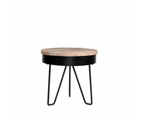 LEF collections Bijzettafel Saran zwart metaal hout 44x44x43cm