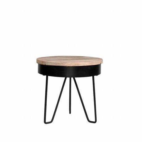 LEF collections Side table Saran black metal wood 44x44x43cm