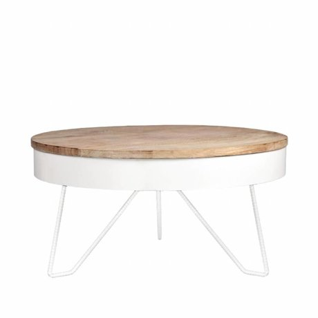 LEF collections Table basse métal blanc bois saran 80x80x43cm