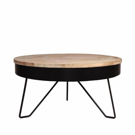 LEF collections Coffee table Saran black metal wood 80x80x43cm