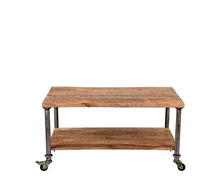 LEF collections Coffee table Flex brown wood metal 90x60x45cm