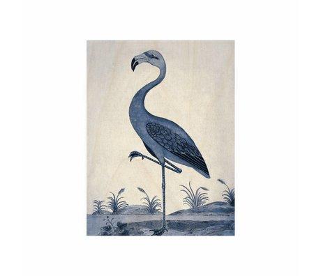 KEK Amsterdam Houten paneel Royal Blue Flamingo S 45x60cm