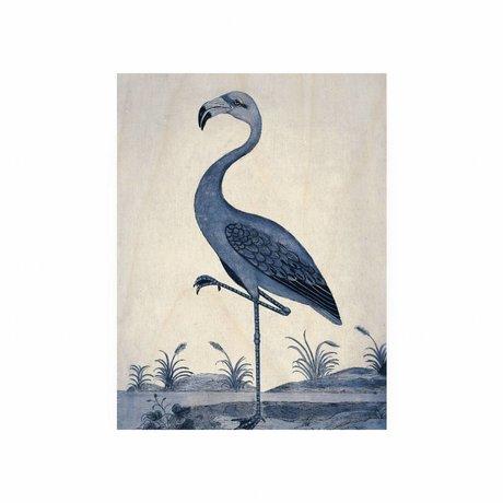 KEK Amsterdam Wooden panel Royal Blue Flamingo S 45x60cm