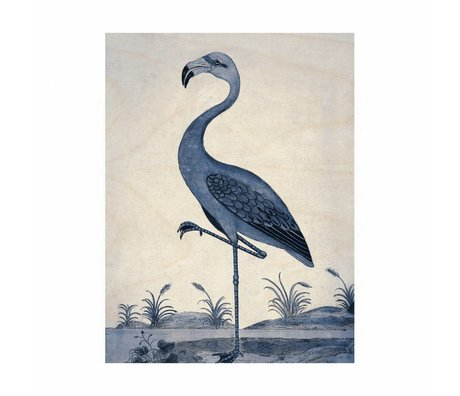 KEK Amsterdam Panneau de bois Royal Blue Flamingo M 60x80cm