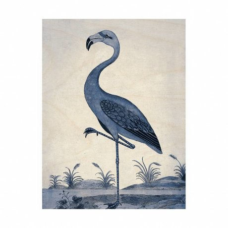 KEK Amsterdam Wooden panel Royal Blue Flamingo M 60x80cm