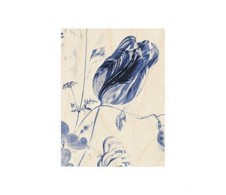 KEK Amsterdam Panneau de bois Royal Blue Fleurs S 45x60cm