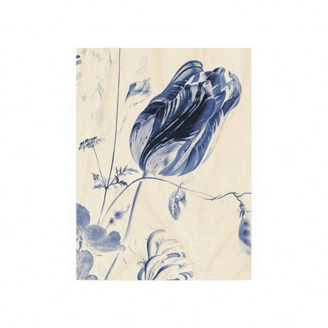 KEK Amsterdam Wooden panel Royal Blue Flowers S 45x60cm