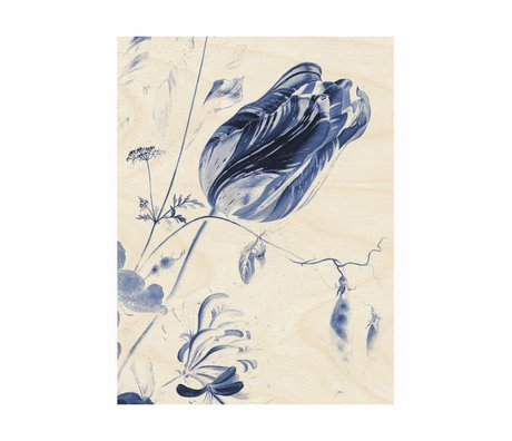 KEK Amsterdam Wooden panel Royal Blue Flowers M 60x80cm