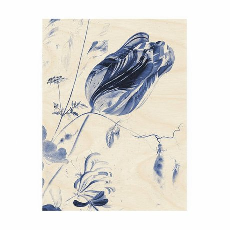KEK Amsterdam Panneau de bois Royal Blue Fleurs M 60x80cm