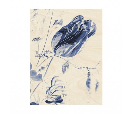 KEK Amsterdam Wooden panel Royal Blue Flowers L 75x100cm