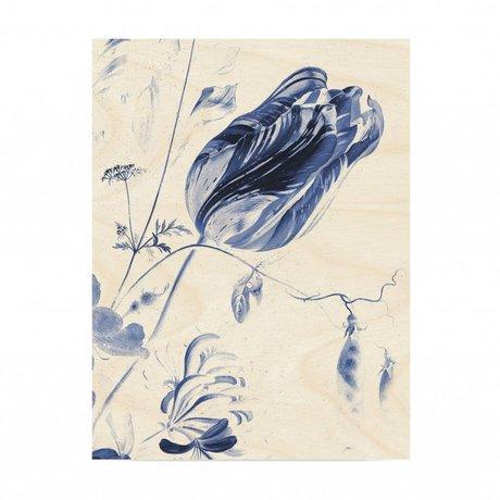 KEK Amsterdam Panneau de bois Royal Blue Fleurs L 75x100cm