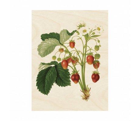 KEK Amsterdam Wood panel Botanical Strawberries M 60x80cm
