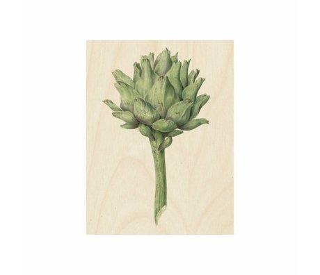 KEK Amsterdam Panneau en bois botanique Artichaut S 45x60cm