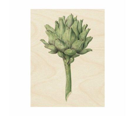 KEK Amsterdam Houten paneel Botanical Artichoke L 75x100cm