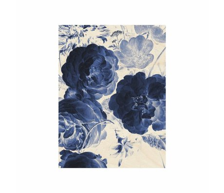 KEK Amsterdam Wooden panel Royal Blue Flowers 2 S 45x60cm