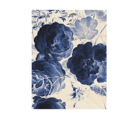 KEK Amsterdam Holzplatte Royal Blue Flowers 2M 60x80cm