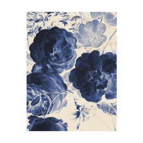 KEK Amsterdam Panneau de bois Royal Blue Fleurs 2M 60x80cm