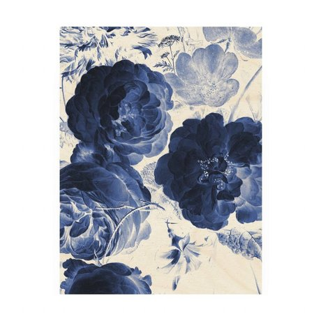 KEK Amsterdam Wooden panel Royal Blue Flowers 2 M 60x80cm
