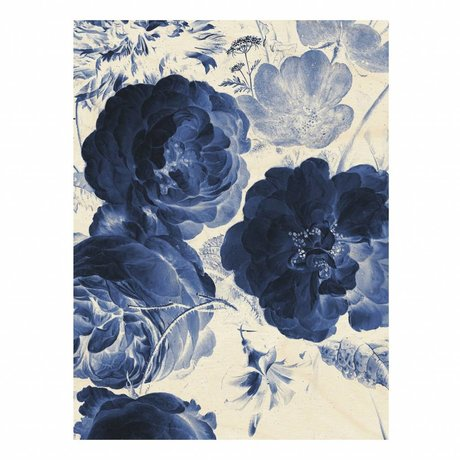 KEK Amsterdam Wooden panel Royal Blue Flowers 2 L 75x100cm