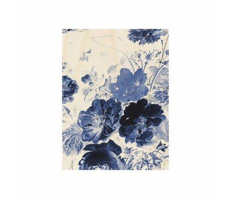 KEK Amsterdam Houten paneel Royal Blue Flowers 3 S 45x60cm