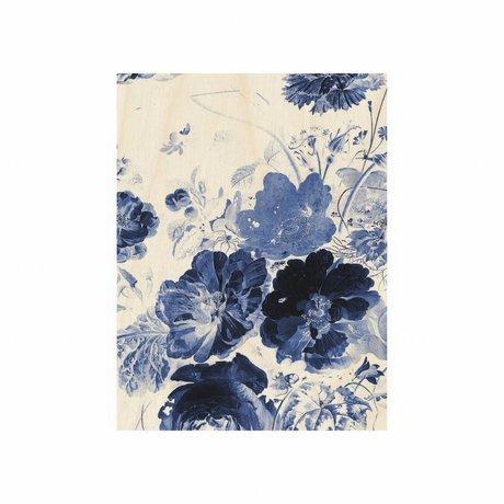 KEK Amsterdam Panneau de bois Royal Blue Fleurs 3 S 45x60cm