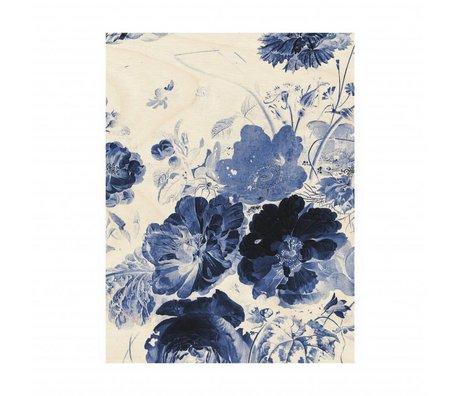 KEK Amsterdam Panneau de bois Royal Blue Fleurs 3M 60x80cm