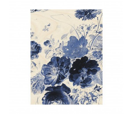 KEK Amsterdam Wooden panel Royal Blue Flowers 3 M 60x80cm