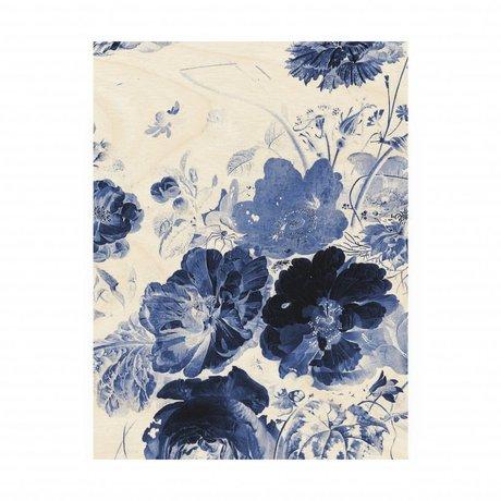 KEK Amsterdam Houten paneel Royal Blue Flowers 3 M 60x80cm