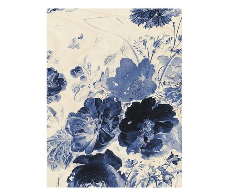 KEK Amsterdam Wooden panel Royal Blue Flowers 3 L 75x100cm