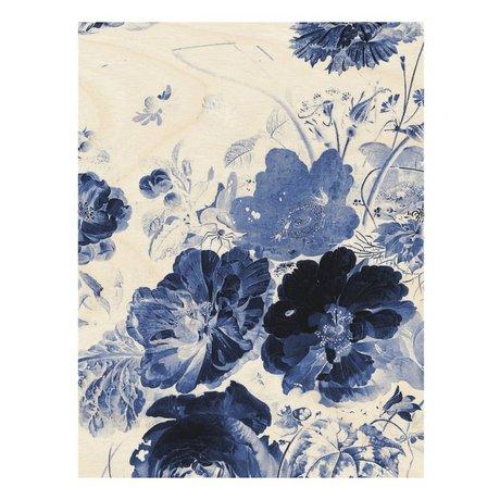 KEK Amsterdam Holzplatte Royal Blue Flowers 3 L 75x100cm