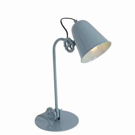 Anne Lighting Tischlampe Dolphin teal metallic 19x38cm