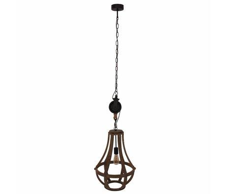 Anne Lighting Liberty Bell lumière pendante bois brun 40x58cm métallique noir