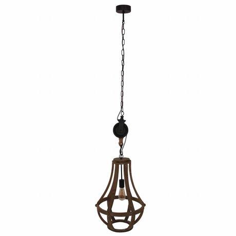 Anne Lighting Hängelampe Liberty Bell braun schwarz Holz Metall 40x83cm